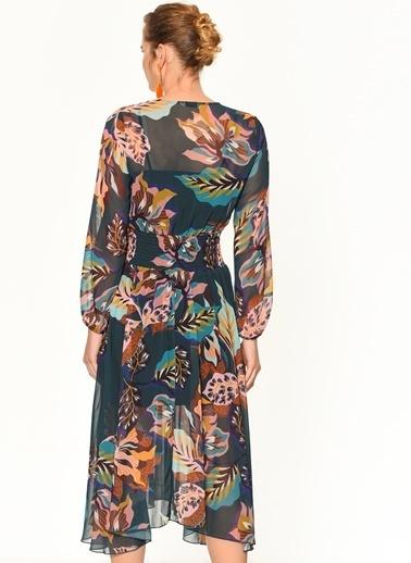 Random Asimetrik Etek Kesimli Beli Lastikli Çiçekli Uzun Elbise Yeşil